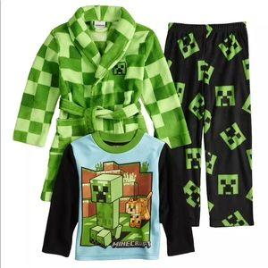 Other - 3-Piece Minecraft Pajama and Robe Set
